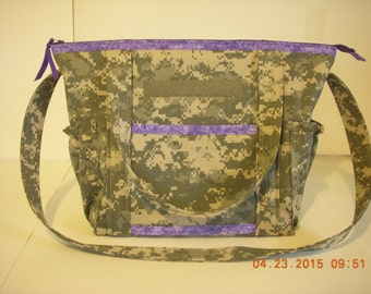 Army Camo Quilted Diaper Bag, Overnight or Anything Bag Trimmed and Lined in Grape Purple Leafy Print