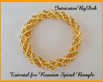 Tutorial Beaded Twisty Russian Spiral Bangle Bracelet - Jewelry Beading Pattern, Beadweaving Instructions, PDF, Do It Yourself, How To