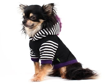 Dog Clothes Purple Mohawk Hoodie for Dogs black and white stripes