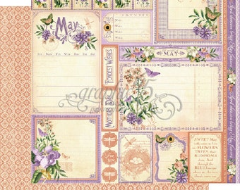 """BOTH May Pages - Graphic 45 """"Time to Flourish""""  ** See Discounted Shipping Note**"""
