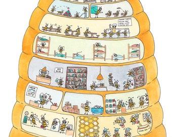 Bee Hive Cross Section Print 8.5 x 11