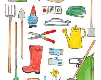 Gardening Gear 8.5 x 11 print