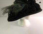 Titanic Extranvagance,  Lady's Black Hat with Black Satin Roses & Bright Peacock Feathers, 1901 -1918s circa, New