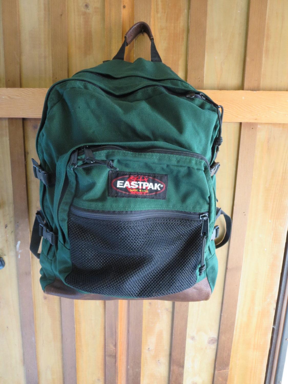 Leather Eastpak Backpack: Vintage Eastpak GREEN Leather Bottom Backpack Par