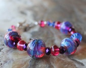 fuschia and bright blue lampwork bracelet sterling silver swarovski crystal shine sparkle glow