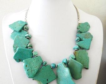 Turquoise Blue Necklace Western Bib Jewelry Slab Buffalo Stone