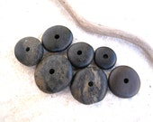 Natural Stone Cairn Mediterranean Beach Stone Stacks Rock Donut Beads River Stone Spacers DIY Jewelry Making BLACK WHEELS 15-25 mm