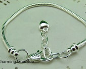 3x 7 in. STARTER Charm BRACELET European Snake Chain Puff Heart EXTENDER with an easy Lobster Claw 17cm