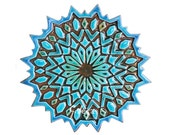 Moroccan tile art // Wall tile // Decorative tile // Ceramic art // Handpainted tile // Moroccan #2 Cutout design // Turquoise
