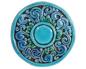 Swirls circle wall decor made from ceramic - outdoor wall art - ceramic tile - firuletes small - turquoise