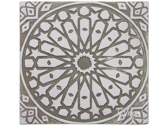 Moroccan ceramic art // Wall tile // Decorative tile //