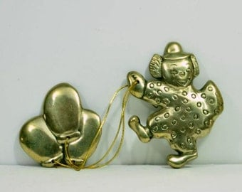 Vintage Brass Figurine Clown with Balloons Nursery Room Wall Hanging