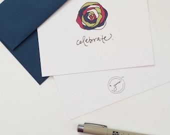 card set   celebrate   8 hand lettered & designed folded cards with envelopes   A2 110# white felt