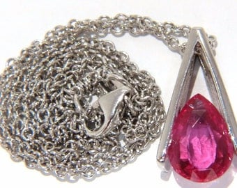 1.80CT Natural Bright Pear Shaped Pink Sapphire Pendant Mosonic Drop 14KT