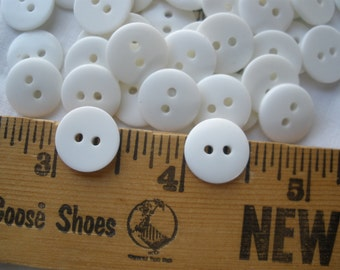 """13MM White Buttons 48 Plastic 20L 2-hole 1/2"""" sew on wedding bridal bag paper tag supply shiny flat back 1mm holes jewelry clasp"""