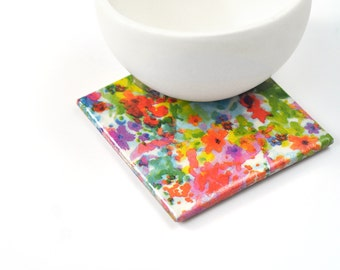 Watercolor Flowers Ceramic Coasters Tile Drink Coasters Abstract Colorful Spring Pattern Modern Coasters Mothers Day Gift
