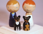 New Pet Topper Wedding Topper with Two Pets Custom Kokeshi Wedding Cake Topper Kokeshi Doll Wedding Toppers Custom Cake Toppers