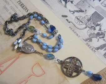Assemblage Necklace Vintage Sterling Religious Necklace Metal Old Rosary Blue Bead Necklace Repurposed Recycled Jewelry