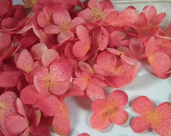 SALE Silk Flowers / Coral Pink Hydrangea Blossoms / Flowers crafting scrapbooking / bridal bouquet supply headband hairbow flowers set of 75
