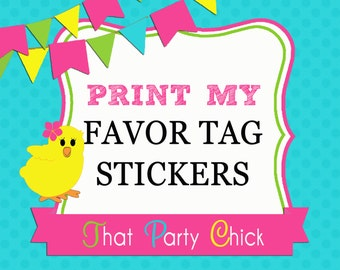Sticker Favor Tag Printing Add On by That Party Chick