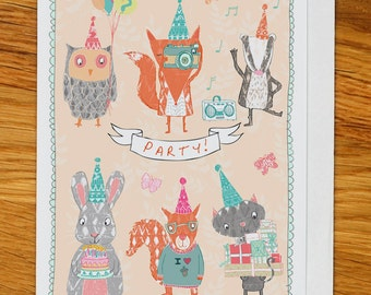 woodland party birthday card, greetings card, woodland party, owl, fox, cat, badger, rabbit, squirrel