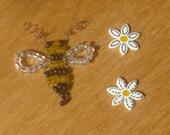 Bee and Daisy bead embellishments x 12 pieces - handmade - craft - plastic - yellow, black, white - Scrapbook