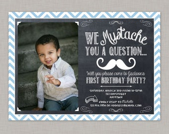 Mustache Invitation, Mustache Birthday Invitation, Little Man Invitation