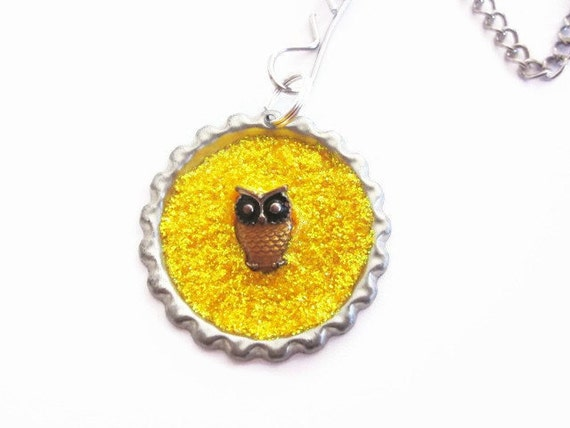 """Tea Infuser with handmade bottle cap charm - 2"""" Mesh Tea Ball - Owl be Looking Out For You - OOAK"""