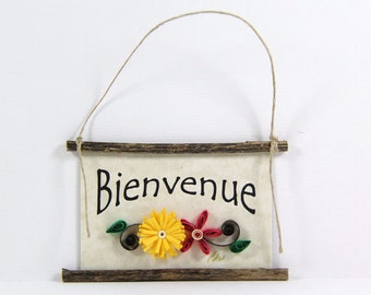 Paper Quilled Magnet 451 - Bienvenue - French Welcome, Kitchen Decor, French Welcome Sign, French Ornament, 3D Paper Quilling, Paper Flowers