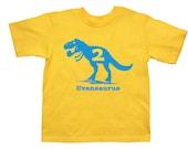 Personalized Trex Dinosaur Birthday Shirt - any name - many color choices!