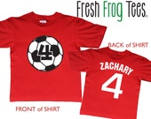 Soccer Ball Birthday Shirt - Personalized two sided soccer jersey shirt for kids - any age and name - pick your colors!