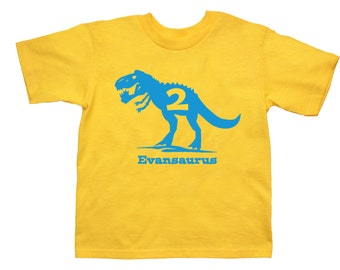 T Rex Dinosaur Name Birthday Shirt - any age and name - pick your colors!