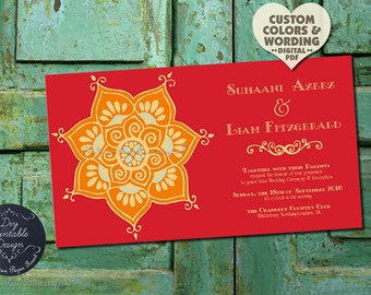 Indian Wedding Invitation LOTUS FLOWER Custom Design Anniversary Engagement Bridal Shower Template Pdf Digital Asian Boho Chic Rustic Ethnic