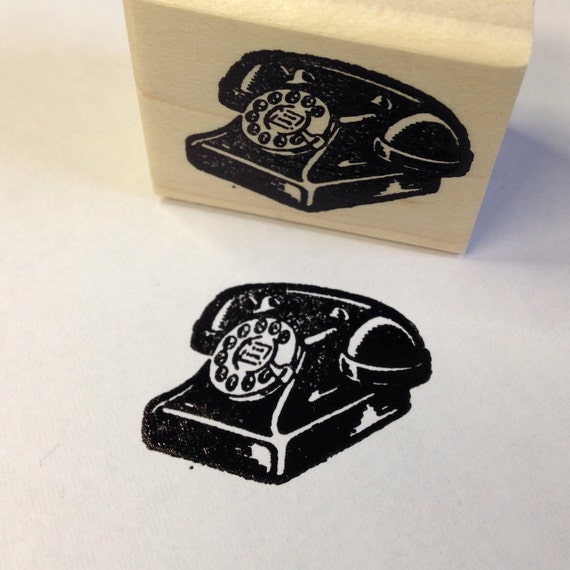 Small Old Dial Phone Rubber Stamp 4791