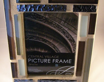 5 x 7 glass photo frame brown black unisex modern masculine manly picture frame gift for him