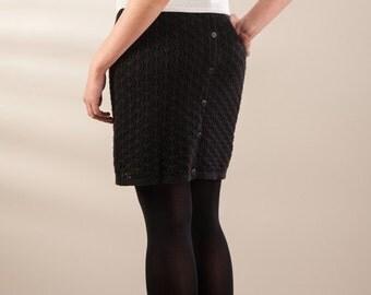 Black skirt, lace jersey skirt, buttoned skirt