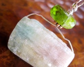 Watermelon Tourmaline Drusy Pendant Peridot Gem Rock Pink Green Gem Rock Rustic Wild Artisan Jewelry