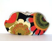 Flower Power, a large sunglass case or small clutch, graphic flowers