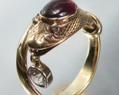 Antique (1859) Civil War Era SNAKE with Half Carat Old Mine Diamond in his Mouth 18K Ring