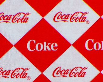 Coca Cola Fabric, Coca Cola Logos, Its the Real Thing, Soda Pop, Diamond Shapes,  By the Yard