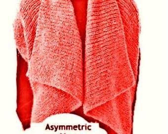 Asymmetric Vest Shrug PDF Knitting Pattern Tutorial  Avant-Gard Unbalanced Design Is not a finished product. It is a PDF Pattern