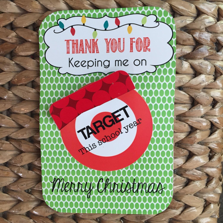 Christmas PRINTABLE for Teacher 'Target gift card