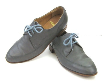 Vintage Grey Lace Up Shoes Mens Gray Shoes Grey Slate Gray Shoes Gray Lace up Mens Leather Shoes Gray Leather Shoes Dove Grey Shoes 7 1/2D