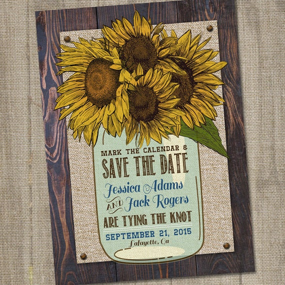sunflower save the date rustic save the date mason jar save the