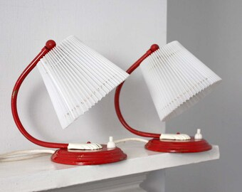 1950s Pair of Table Lamps. Crimson Red and Ruffled White.