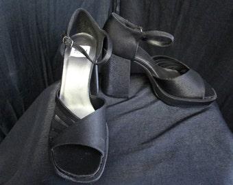 90s 8 Deadstock Ankle Strap Platform Disco SHOES Black Taffeta Red Zone
