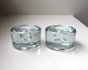 Mid Century Modern Blenko Candle Holders Pair Solid Ice Art Glass Wayne Husted 1970's