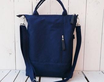 Tote Bag Unisex Canvas, Convertible Messenger Cross Body zipper bag, Vegan navy shoulder bag husband laptop carrier, unique gift for her