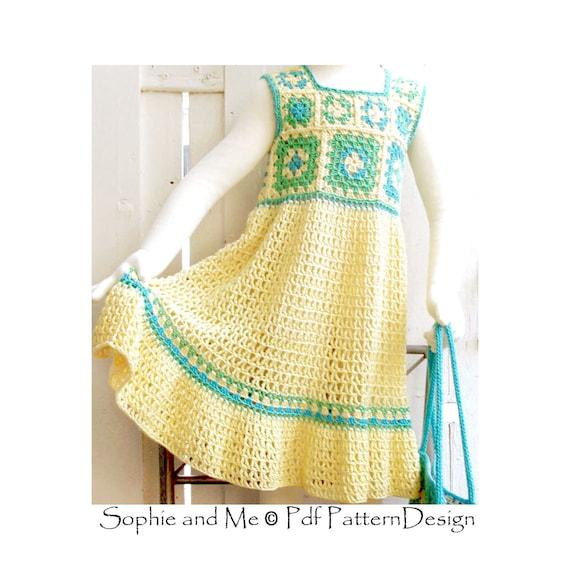 Granny Square summer Dress Crochet Pattern Toddler Girl