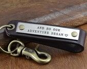 Personalized Leather Keychain - Anniversary Gift for Men, Graduation Gift, Groomsmen Gift - Hand Crafted in USA